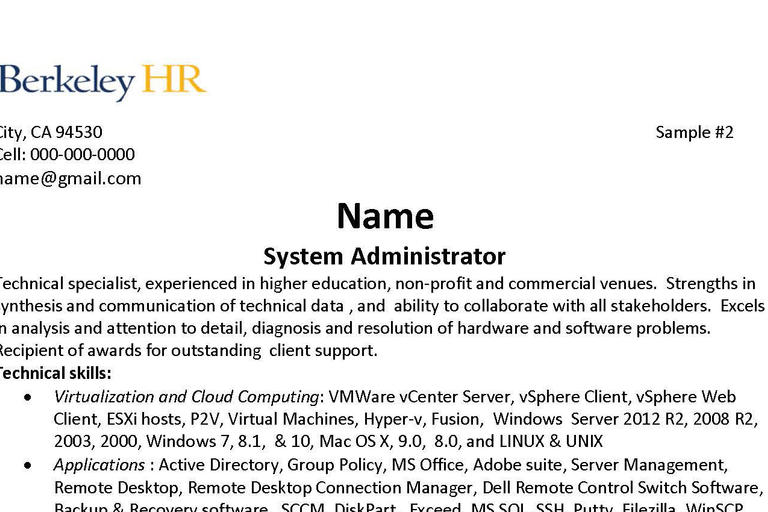resume human resources