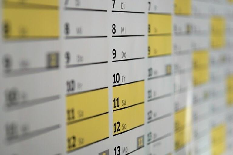 A wall calendar