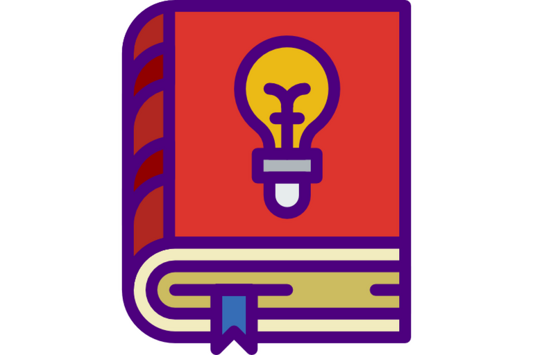 Icon of a book with a light bulb on the cover