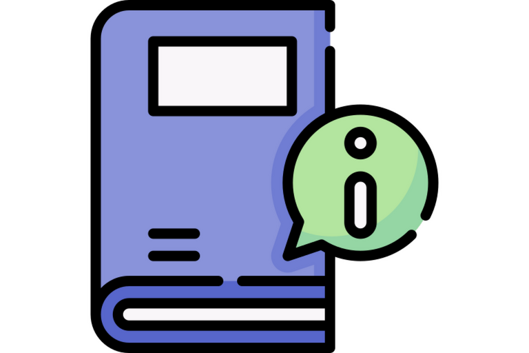 """Icon of a blue book with an """"i"""" symbol for information"""