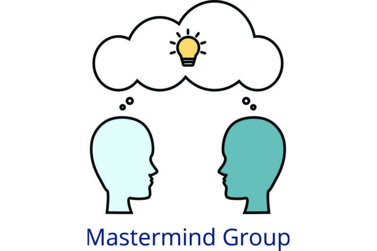 Icon of two heads facing each other with a shared thought bubble above them with a light bulb inside