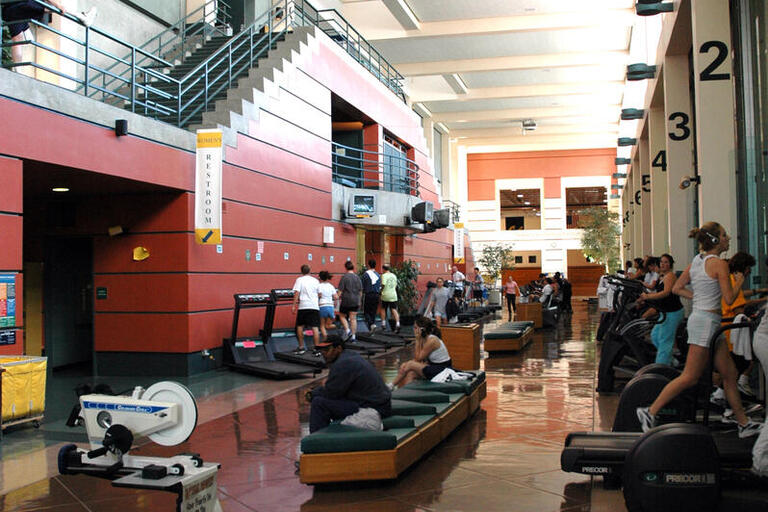 Looking down the main hallway of RSF, many fitness machines are visible