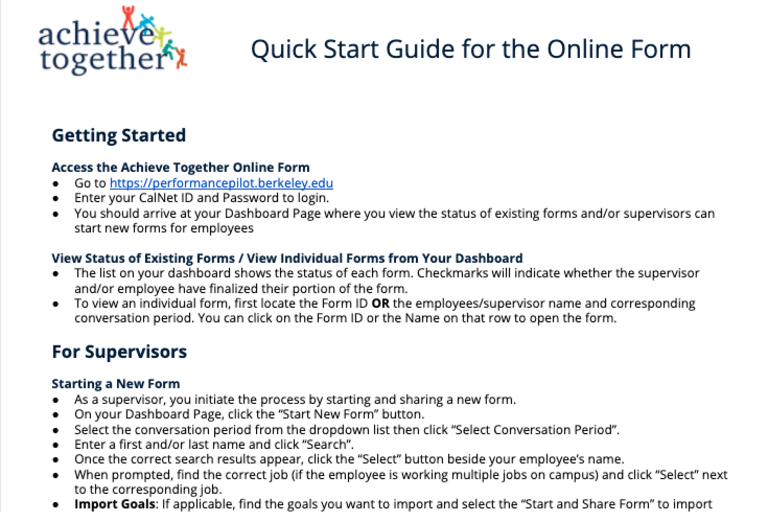 Achieve Together Quick Guide - Online Dashboard