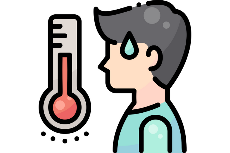 Icon of a thermometer and a person sweating