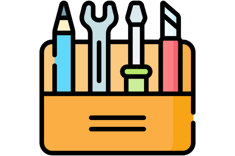 Icon of four colorful tools in a kit